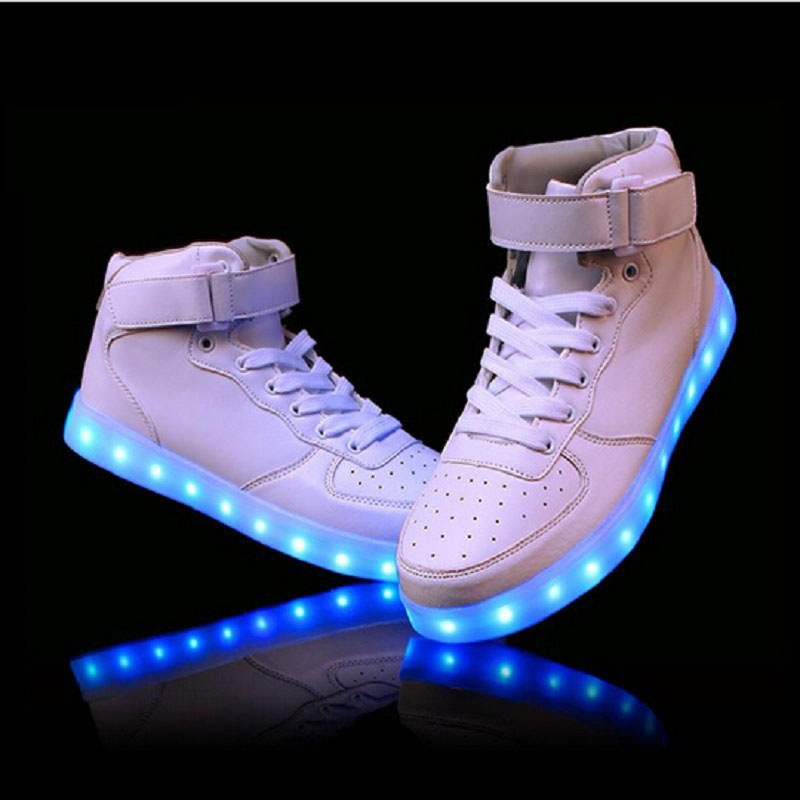 2017 women lights up led luminous shoes high top glowing boots with new simulation sole charge for adults neon basket