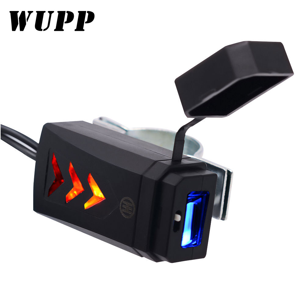WUPP 5V 2.1A Waterproof USB Charger Socket Adapter Power DC 12-24V Motorcycle Electronic Accessory For Phone Port Socket