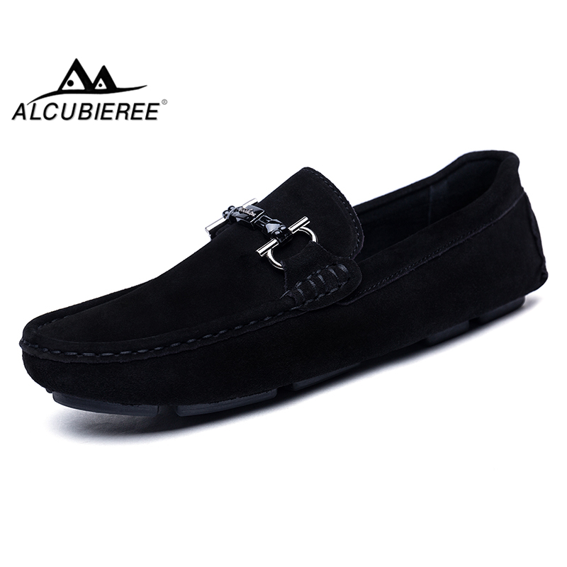 ALCUBIEREE Genuine Leather Men Loafers Fashion Slip On Driving Shoes Men Moccasin Boat Shoes Casual Business Men Shoes Gommino men s crocodile emboss leather penny loafers slip on boat shoes breathable driving shoes business casual velet loafers shoes men