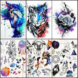 Акварельные синие единороги лошадь временные татуировки наклейки Женщины Мужчины Bdoy Art Руки Ноги поддельные вспышки воды передачи татуиро...