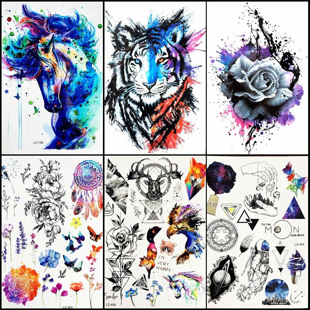 Watercolor Blue Unicorn Horse Temporary Tattoo Stickers Women Men Bdoy Art Arm Legs Fake Flash Water Transfer Tattoo ALZ-128