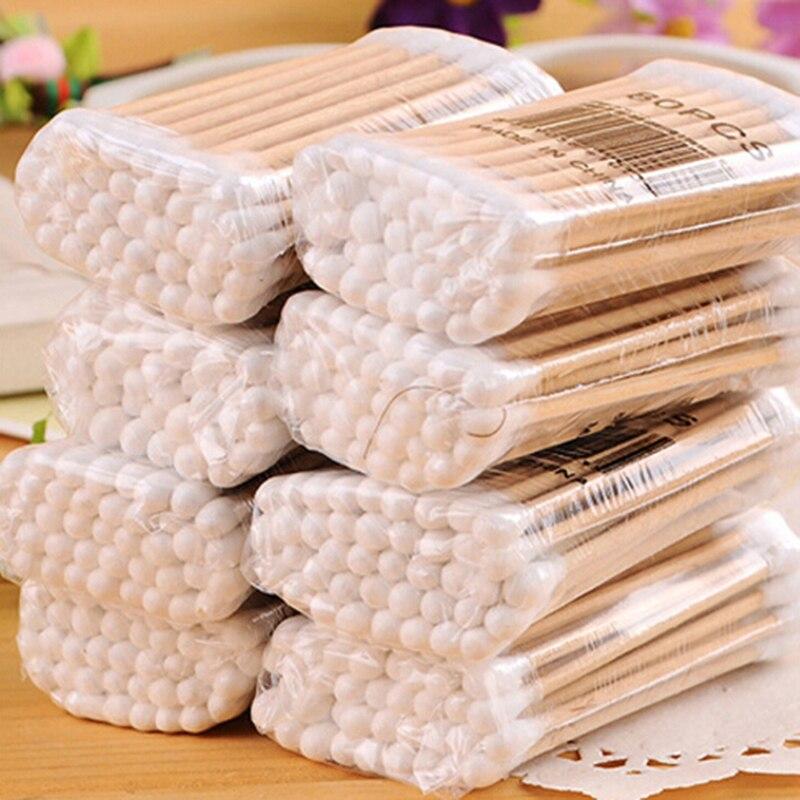 1 Beutel Doppel Kopf Baumwolle Tupfer Baby Pflege Reinigung Make-up Entferner Spitze Holz Werkzeuge Outdoor Notfall Medizinische Wunde Pflege Dressing Vertrieb Von QualitäTssicherung