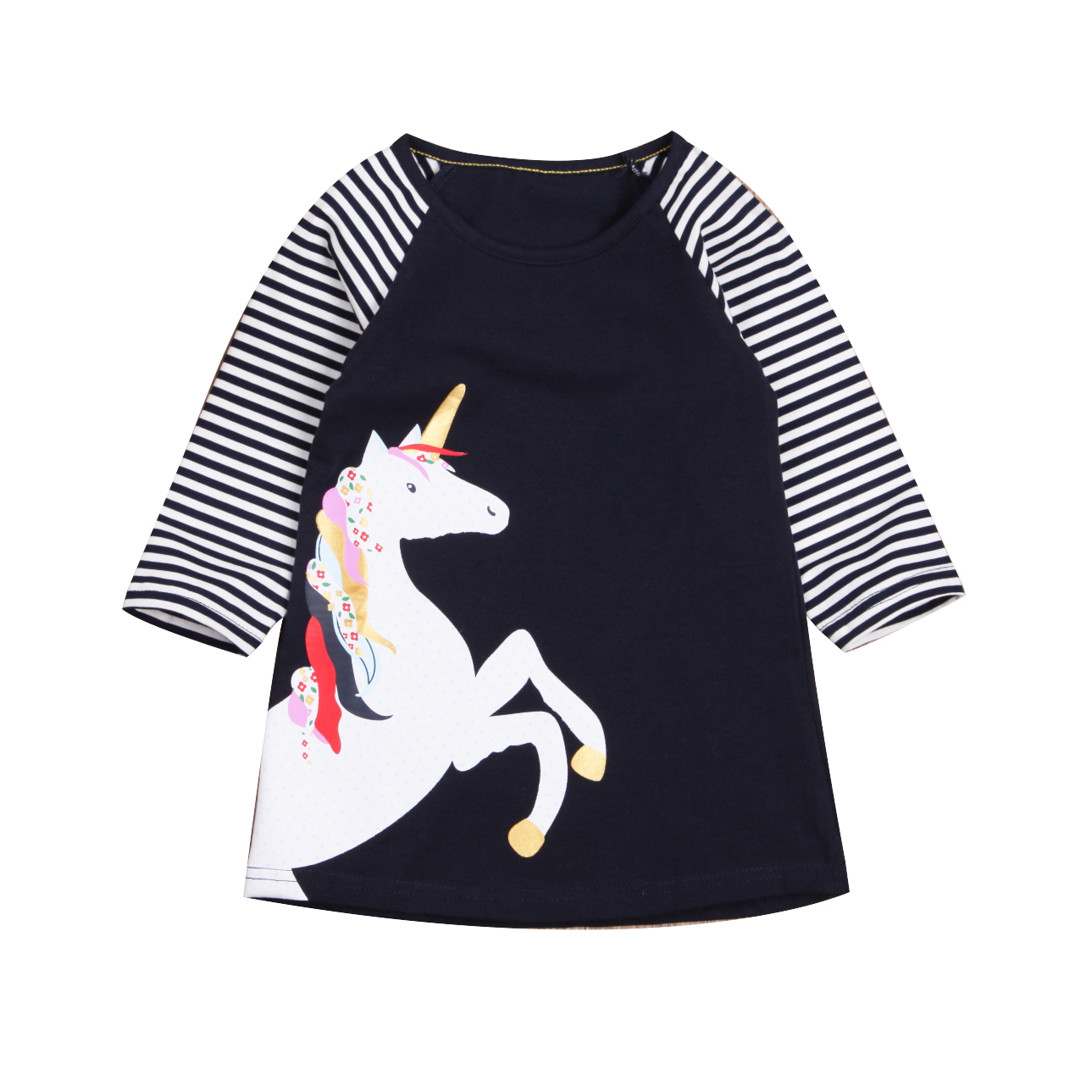 Princess Kids Baby Girls Dress Cotton Cute Mini Long Sleeve Casual Striped Party Casual Dresses Girl toddlers girls dots deer pleated cotton dress long sleeve dresses page 10