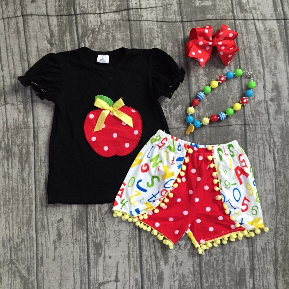 new cotton baby girls boutique black apple print ruffles shorts back to school pom-pom outfits with matching accessories outfits baby pom pom hem swan print romper with headband