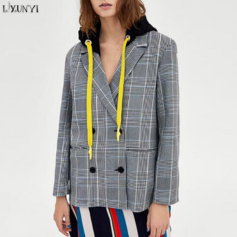 LXUNYI 2018 Spring Autumn Coat Women Blazers With Buttons Double Breasted Slim Hooded Blazer Retro Casual Plaid Suit Jacket
