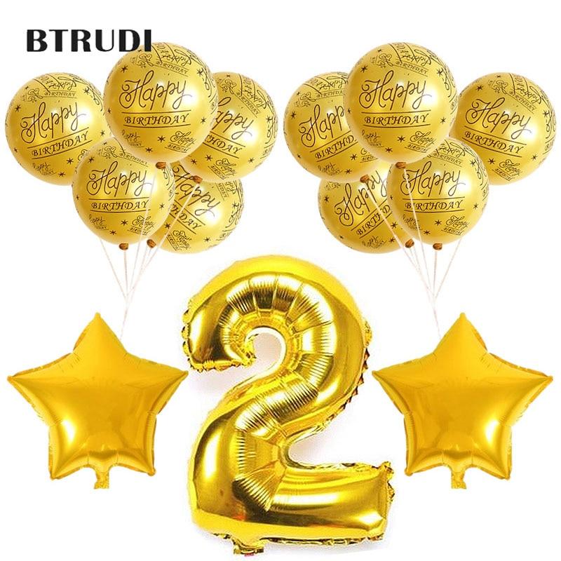 BTRUDI Pink Blue Gold Number balloon 2pcs Aluminum foil stars 10pcs balloons Boy girl birthday party activity decoration
