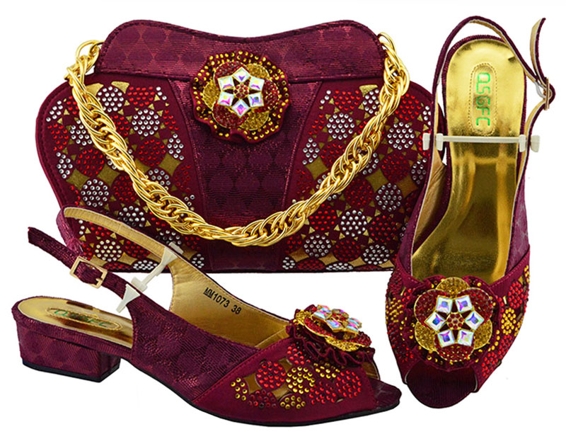 Wine Color Shoes and Bag To Match Italian African Women Matching Italian Shoe and Bag Set Decorated with Crystal Nigerian Shoe hot artist shoes and bag set african sets italian shoes with matching bags high quality women shoes and bag to match set mm1055