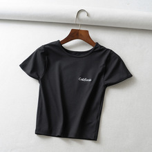 Womens Skinny T-shirt High Waist Exposed Navel Female Solid Color Fashion Summer New