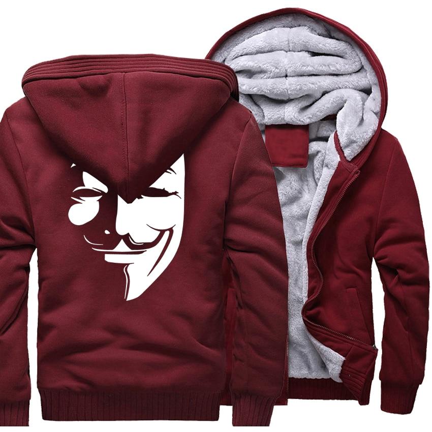 Thick Hoodies For Winter 2017 New Hot Sale Sweatshirts Men Zipper Tracksuit Print V for Vendetta Harajuku Hoody Hip Hop Jackets