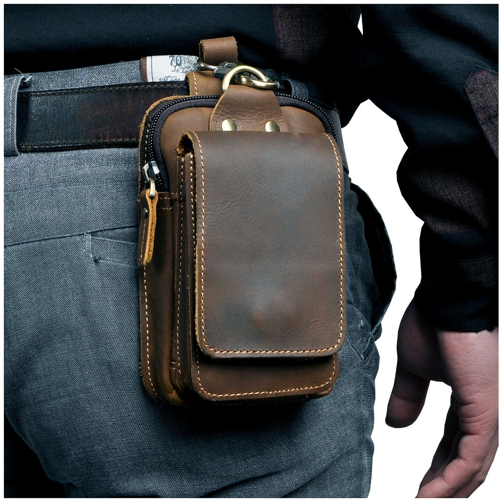 Real Leather Men Casual Design Small Waist Bag Cowhide Fashion Hook Bum Bag Waist Belt Pack Cigarette Case 5.5