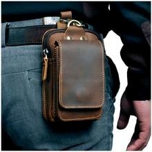 Bolso de cuero Real para hombre, diseño Casual, pequeño bolso de cuero de vaca, bolso de moda con gancho, riñonera, estuche para cigarrillos de 5,5
