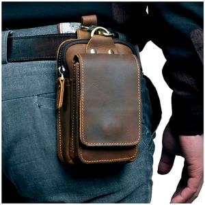 Real Leather men Casual Design Small Waist Bag Cowhide Fashion Hook Bum Bag Waist Belt Pack Cigarette Case 5.5
