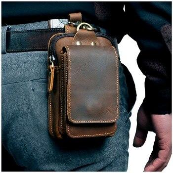 Real Leather men Casual Design Small Waist Bag Cowhide Fashion Hook Bum Bag Waist Belt Pack Cigarette Case 5.5'' Phone Pouch 1609