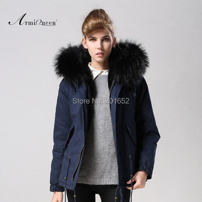 TOP qualité nouvelle 2015 hiver veste manteau parkas de femmes bleu foncé Grand fourrure de raton laveur collier à capuchon femme outwear lâche vêtements