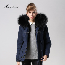 TOP quality new 2015 winter jacket coat women's parkas dark blue Large raccoon fur collar hooded woman outwear loose clothing
