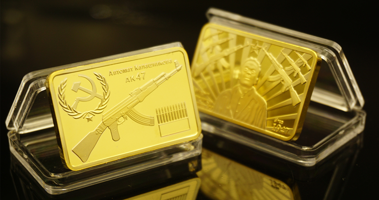 US $2 74 39% OFF|Russian CCCP Gold Bullions AK47 Pure Gold Bar Replica Gold  Bars Gold Bullion Mikhail Timofeevich Kalashnikov Coin-in Non-currency