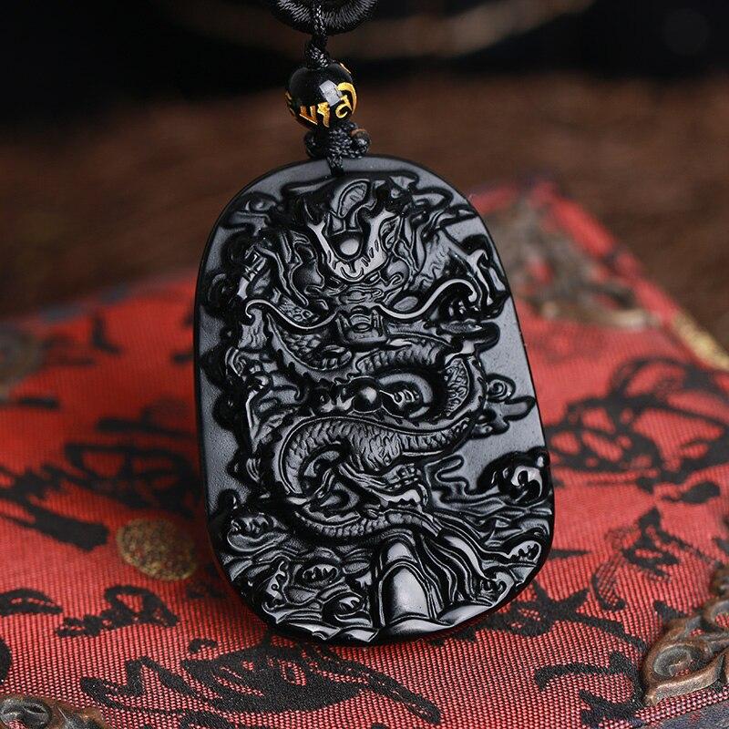 Prix pour Drop Shipping sculpture Chinois noir Un Naturel Obsidienne sculpté dragon noir obsidienne collier pendentif