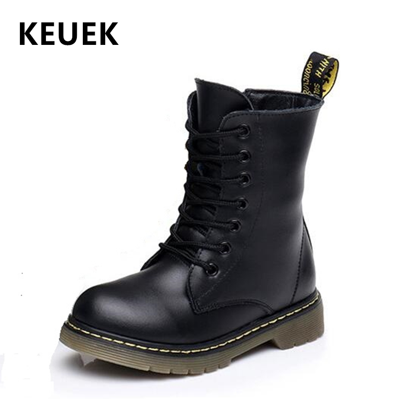 NEW 2019 Winter Genuine Leather Children Motorcycle Boots British Style Baby Girls Shoes Military Boots Boys Kids Snow Boots 04