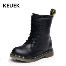 купить NEW 2019 Winter Genuine Leather Children Motorcycle boots British style Baby Girls shoes Military boots Boys Kids Snow Boots 04 в интернет-магазине