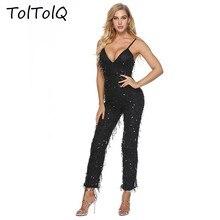 58c6ff4c1106d TolTolQ 2018 Autumn Deep V Lead Tassels Jumpsuits Camisole Paillette Sexy  Trousers
