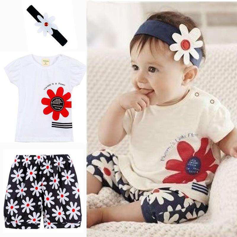 3pcs/Set Newborn Baby Clothes Baby Girl Dress Summer Kids Baby Clothing Sets Infant Baby Clothes T-Shirt+Pants+Headband 2