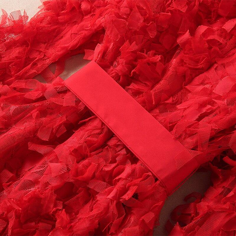Femelle Chaude Manches Arc Qualité Pur Rose 2019 Printemps rouge Haute De Robe Femmes V Soirée Flare Couleur Complet neck w0Oqf