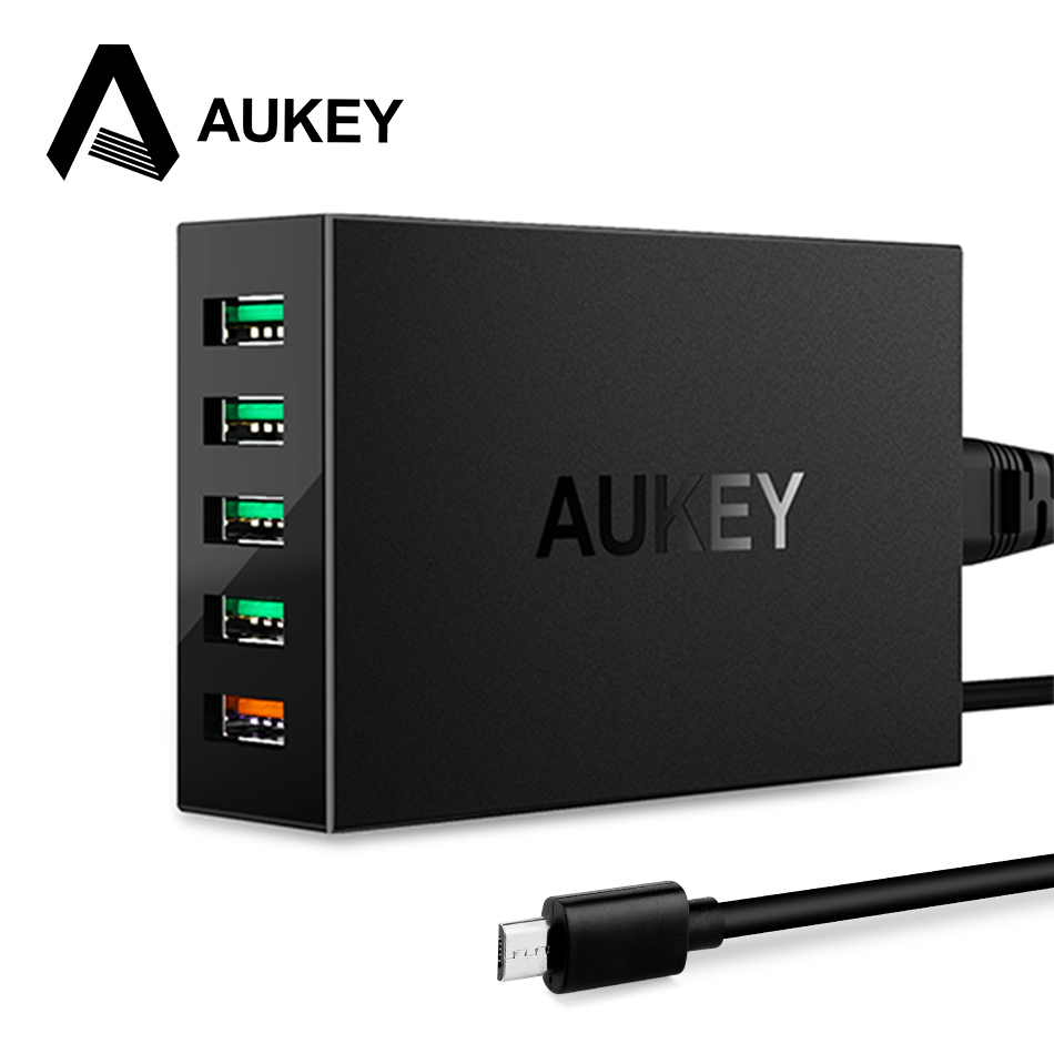 AUKEY USB Desktop Charger Quick Charge 3 0 5 Port Phone Charger USB Fast Charging Mobile