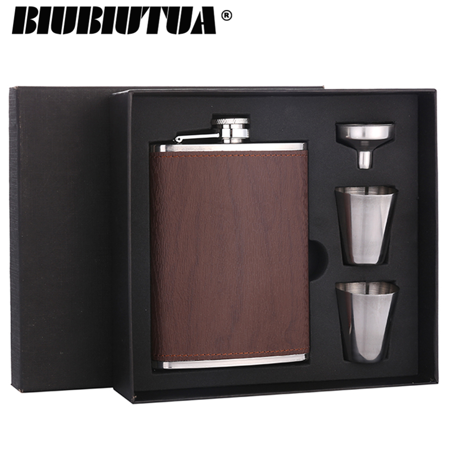 BIUBIUTUA Bar Outdoor Sports Special Stainless Steel Hip Flask Set 2018 Wood Grain Leather Packed Brown 8oz Mini Portable Flask