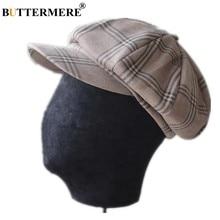 BUTTERMERE vendedor de periódicos sombrero de las mujeres de los hombres  cuadros tapa octogonal de algodón 7339ceee3cb