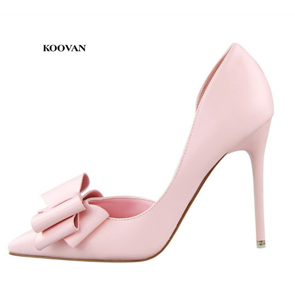 Koovan Women Pumps 2018 New Fashion Women's Shoes Sweet Bowknot High Heel Shoes Side Hollow Pointed Women Sandals
