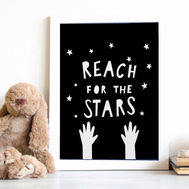 Reach For The Stars Quotations Murals Modern Canvas Art Picture