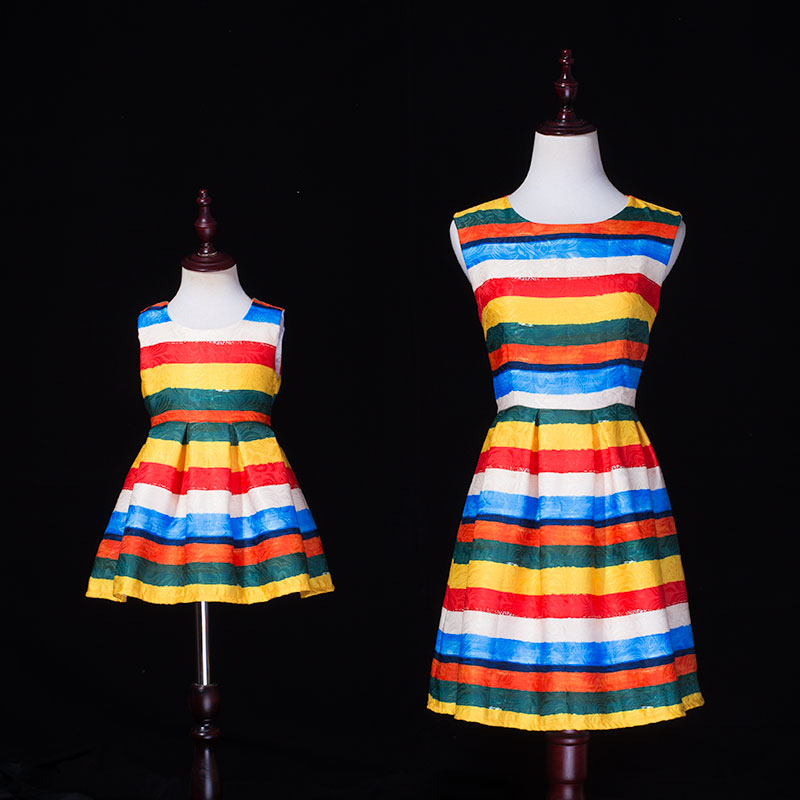Summer family matching outfits mom & kids dress rainbow striped print mother and girl clothing sleeveless Aline jacquard dresses striped print color block cami dress