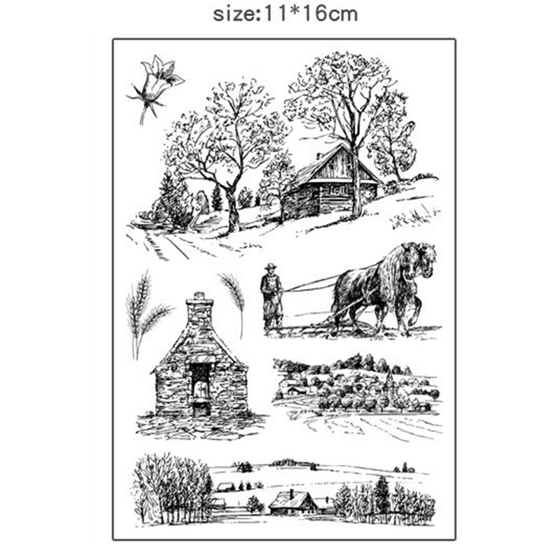 Creative Hill house silicone transparent Clear Stamps for scrapbook DIY Photo album Rubber