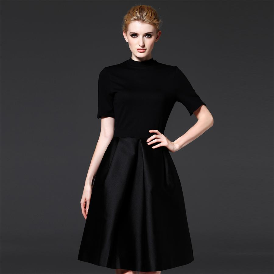 Summer Autumn Style Elegant Party Dress High Quality Brand Women Black Short Sleeve O neck A