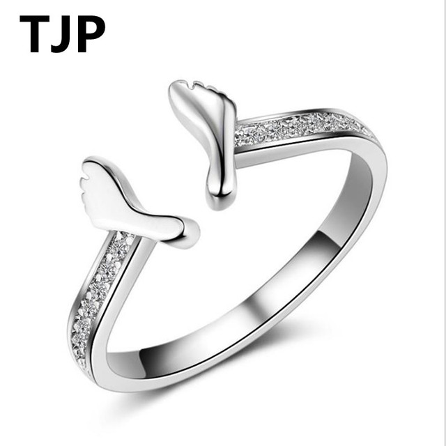 4bffae34979 US $2.85 41% OFF|TJP Unique Foot Design Women Finger Ring Jewelry Open Size  Fashion 925 Sterling Silver Rings For Lady Girl Party Accessories Hot-in ...