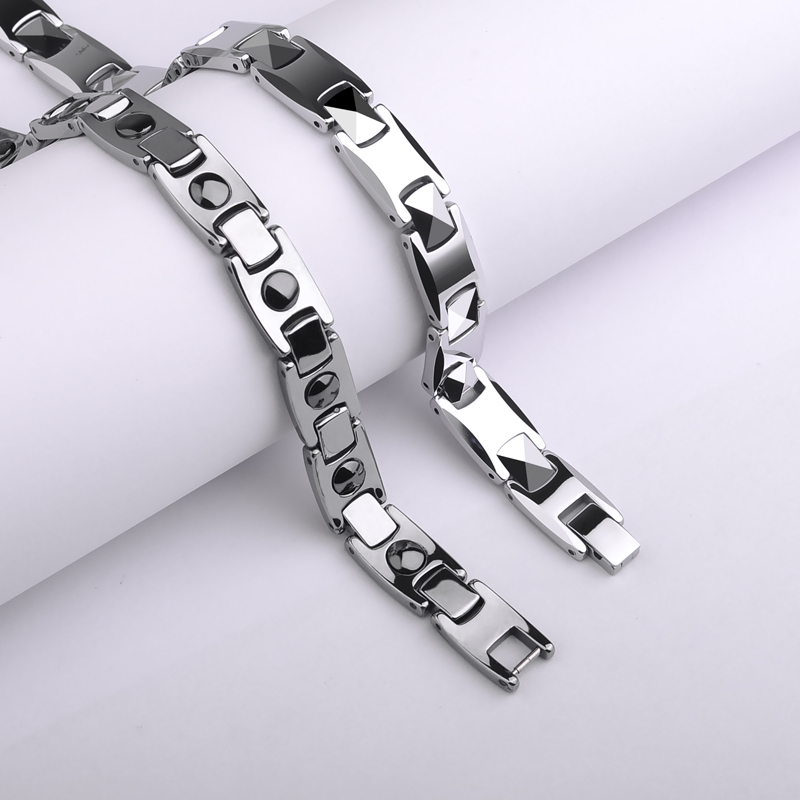 New Fashion High Quality White Tungsten Bracelets For S Woman Man Adjule Length Black Magnets Stone Free Shipping In Chain Link From