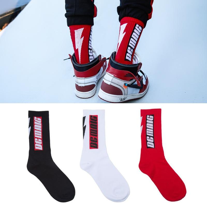 47f8717d30346 New Fashion Harajuku Men's Socks Long Crew Cotton hip hop Cool Funny Skate  Socks personality lightning