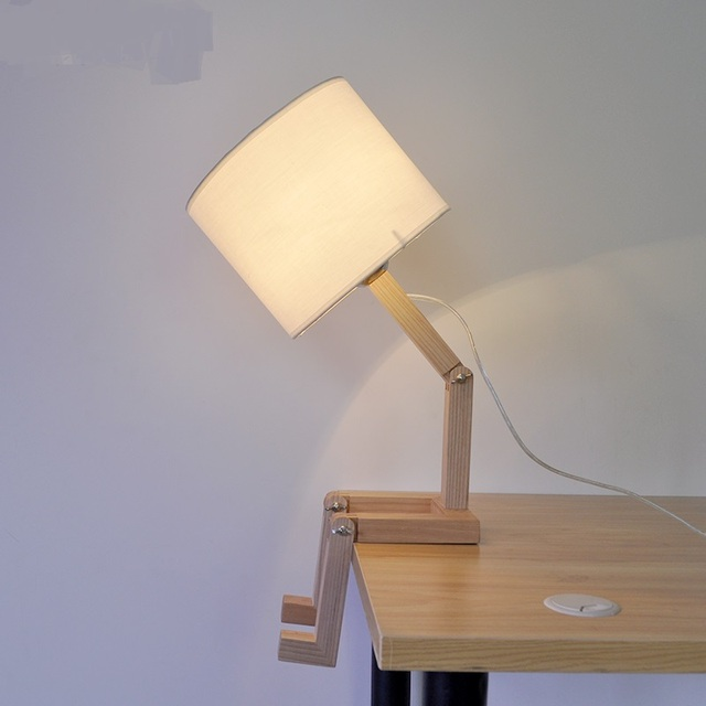 Anese Creative Wooden Desk Lamp Lovely Personality Bedroom Study Room Bar