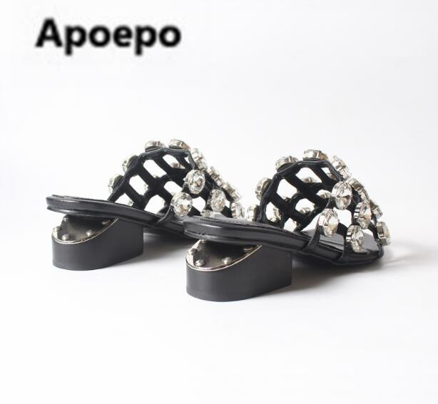 faa2a427a7359 sales 2018 summer women slippers white crystal women shoes sexy cut out  Casual ladies sandals Rhinestone high heels shoes women-in High Heels from  Shoes on ...