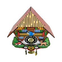 Wooden Cuckoo Wall Clock Swinging Pendulum Traditional Wood Hanging Crafts Decoration for Home Restaurant Living Room(China)