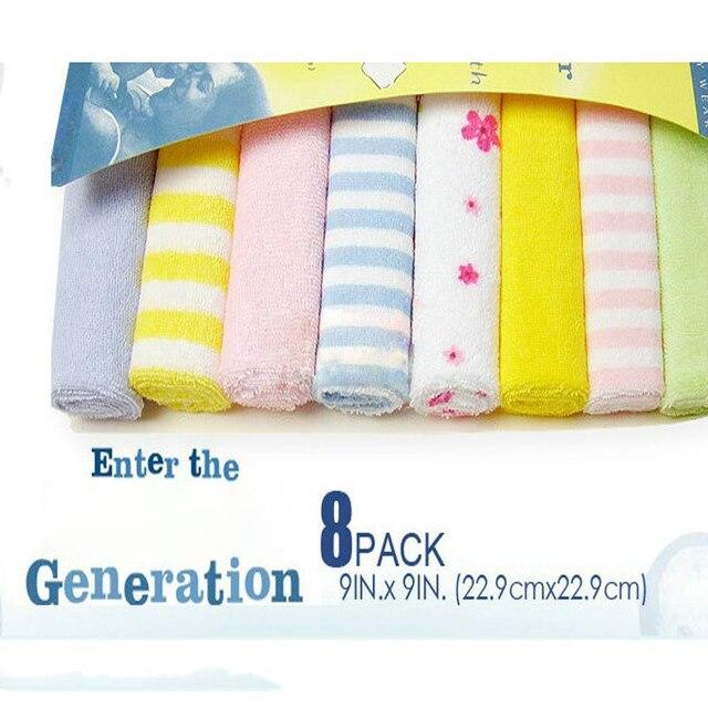 8 Unids Bebé Recién Nacido Niños Toalla de Baño Toallas de Baño PIES Kit de alimentación Wipe Paño Suave Suave Cuidado Del Bebé Cómodo toallitas