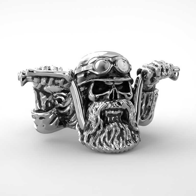 Vintage męska Punk brodaty pierścień czaszka Gothic czaszka motocykl pierścień motocyklisty unikalny Punk mężczyźni fajne Streampunk biżuteria