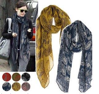 2016 New Designer Elegant Vintage Scarf Fashion Printed Scarves 7 Colors wf-5016
