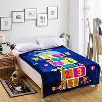 Soft 100 Polyester Coral Fleece Fanric Blanket Dark Blue For Bedroom Super Warm Bed Blanket For