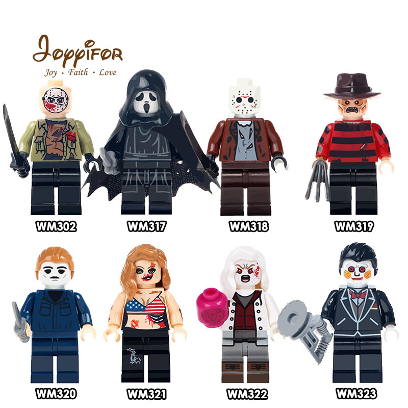JOYYIFOR Scream Moive Harley Quinn Death Jason Building Blocks Bricks Character Action Mini Figures Compatible Legoingly 8pcs