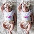 3 UNIDS Ropa del Verano Del Bebé Conjuntos de Encaje O Cuello Sin Mangas chaleco + Floral de Cintura Alta Shorts Bottoms Diadema Trajes Para niño