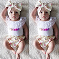 3PCS Baby Girl Summer Clothes Sets Lace O Neck Sleeveless Vest + Floral High Waist Shorts Bottoms Headband Outfits For Child