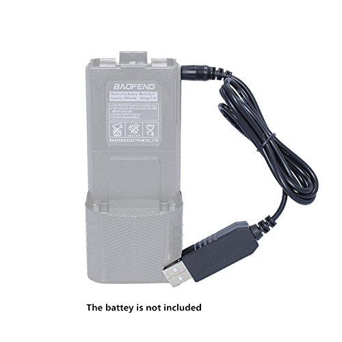 Baofeng 2.5mm USB Chargeur Câble pour BaoFeng Talkie Walkie UV-5R 3800 mAh BL-5L Haute Capacité Batterie Radio Bidirectionnelle