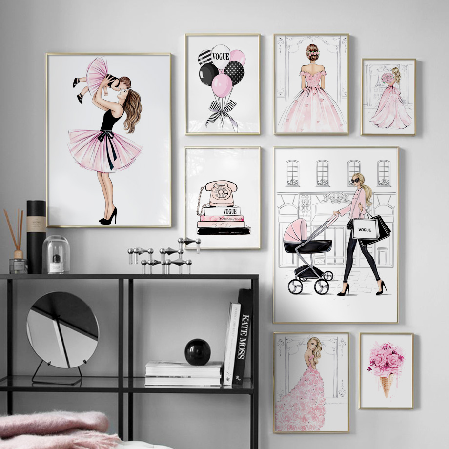 Fashion Girl Skirt Balloon Flower Book Wall Art Canvas Painting Nordic Posters Prints Wall Pictures For Living Room Home Decor