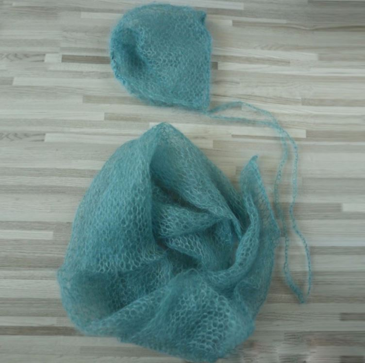 a4f00e4cc Handknit Stretch Soft import Little Mohair Newborn Wraps with Hat SET  60x30cm NEWBORN PHOTOGRAPHY PROPS BABY SHOWER GIFT